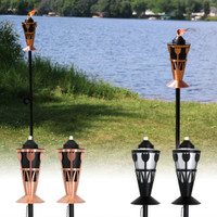 Steel Outdoor Torch with Tulip Design