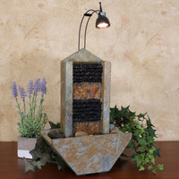 Towering Slate Indoor Tabletop Water Fountain with Spotlight