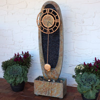 Outdoor Floor Fountain with Clock
