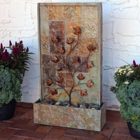 Floor Water Fountain with Climbing Vines and LED Light