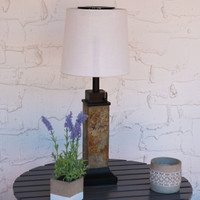 Outdoor Solar Table Lamp with Slim Slate Base and Fabric Shade