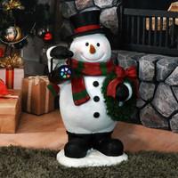 Festive Traveling Snowman Indoor Statue