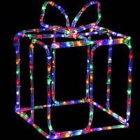 Multi-Color LED 3D Christmas Holiday Gift Box Silhouette at Night