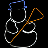 Multi-Color LED Snowman Decoration at Night