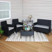 Tramore 4-Piece Gray Rattan Outdoor Patio Furniture Set