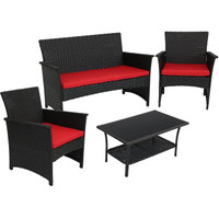 Arklow 4-Piece Rattan Outdoor Patio Furniture Set with Cushions