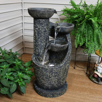 3-Tier Modern Spiraling Bowls Outdoor Water Fountain