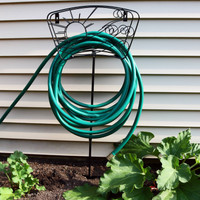 Metal Garden Hose Stand Holder with Decorative Sun and Wind Design (Hose Not Included)