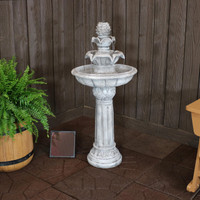 Ornate Elegance Tiered Outdoor Solar-on-Demand Water Fountain, White