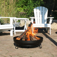 Black Steel Outdoor Wood-Burning Fire Pit Bowl with Stand