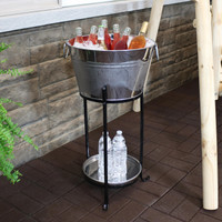 Sunnydaze Ice Bucket Drink Cooler with Stand and Tray for Parties, Stainless Steel