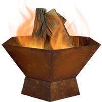 Rustic Cast Iron Hexagonal Fire Pit Bowl