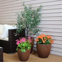 Textured Rust Round Flower Pot, Set of 3