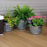 Gray Fiber Clay Indoor/Outdoor Round Barrel Planter Flower Pot, Set of 3