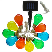 Solar LED Outdoor String Lights with 10 Multi-Color Light Bulbs