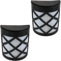 Outdoor Solar LED Wall Mount Lights with Crosshatch Design