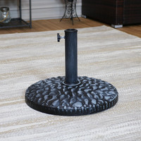 Resin Patio Umbrella Base with Pebble Texture