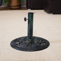 Cast Iron Patio Umbrella Base with Rose Blossom Design, Green