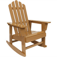 Outdoor Wooden Adirondack Rocking Chair with Cedar Finish, Single Chair