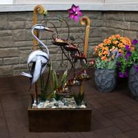 Metal Crane Tiered Waterfall Decorative Garden Outdoor Water Fountain