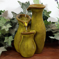 Tiered Green Ceramic Carafe Tabletop Water Fountain