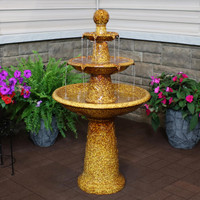 Floral Motif Ceramic 3-Tier Outdoor Water Fountain with LED Lights