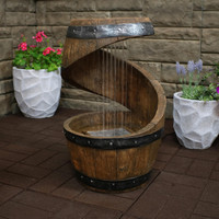 Spiraling Barrel Outdoor Water Fountain with LED Lights