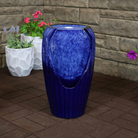 Sunnydaze Blue Ceramic Vase Outdoor Water Fountain with LED Lights, 22-Inch