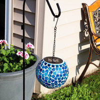 Midnight Moon Mosaic Solar Hanging Orb with LED Light
