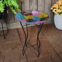 Multi-Color Mosaic Petals Outdoor Bird Bath with Stand