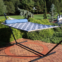 2-Person Quilted Fabric Hammock with Spreader Bars, Navy and Gray Octagon