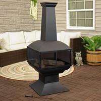 Black Steel Wood Burning 360-Degree View Outdoor Chiminea Fire Pit with Poker