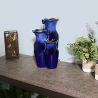 Tiered Blue Ceramic Glazed Pitchers Indoor Tabletop Fountain