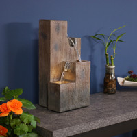 Faux Wood Tiered Pitchers Indoors Tabletop Water Fountain with LED Light