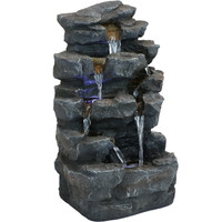 Sunnydaze Grotto Falls Water Fountain with LED Lights, 24-Inch