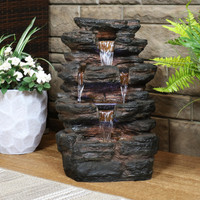 Sunnydaze Tumbling Falls Rock Style Water Fountain with LED Lights, 21-Inch (QC-574)
