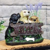 Sunnydaze Welcoming Puppies Indoor/Outdoor Garden Statue, 8-Inch Main Lifestyle