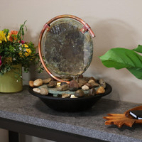 Sunnydaze Serene Eclipse Slate Tabletop Water Fountain with Light, 14-Inch