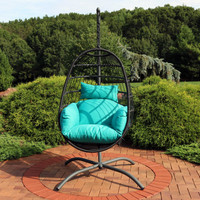 Sunnydaze Penelope Hanging Egg Chair with Seat Cushions and Stand - 78-Inch