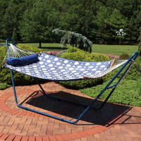 2-Person Curved Spreader Bar Hammock with Blue Multi-Use Universal Steel Stand, Blue and Gray Octagon