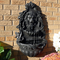 Sunnydaze Stoic Courage Lion Head Outdoor Solar Wall Water Fountain with Battery Backup, Wall-Mounted Waterfall Feature, 30-Inch