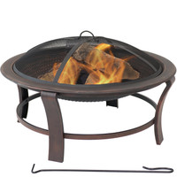 Sunnydaze Elevated Outdoor Fire Pit Bowl, Wood Burning Firebowl with Spark Screen, 29-Inch