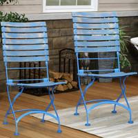 Sunnydaze Cafe Couleur European Chestnut Wooden Folding Dining Chair Portable, Blue Compact Side Chair Set - 2 Pack