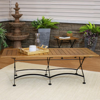 "Sunnydaze European Chestnut Wood Folding Coffee Table, 59"" x 23"""