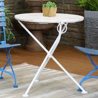 Sunnydaze French Country European Chestnut Wood Round White Bistro Table, 28-Inch Round