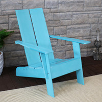 Sunnydaze Carnlough Outdoor Modern Adirondack Patio Chair, Blue