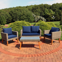 Clifdon 4-Piece Rattan and Acacia Outdoor Patio Furniture Set