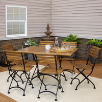 Sunnydaze Essential European Chestnut Wood 7-Piece Folding Table and Chairs Set