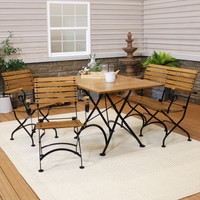 Sunnydaze Deluxe European Chestnut 4-Piece Folding Table, Chairs and Bench Set