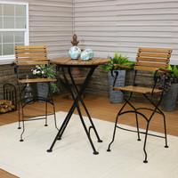 Sunnydaze Deluxe European Chestnut Wood 3-Piece Folding Table and Bar Chair Set
